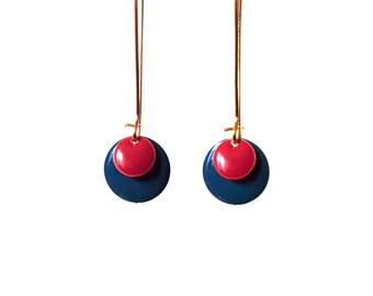Sequin enamelled blue and Red Garnet Earrings on gold brass setting-long dangle earrings