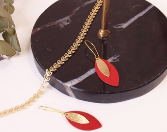 AVA red leather leaf and gold earrings