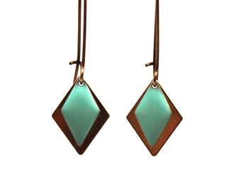 Diamond Earrings mint green with water - geometric graphic earrings - sequin enameled on raw brass - bronze setting