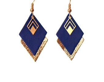 Earrings blue and gold leather graphic earrings Royal Blue and gold - diamonds model LYA - for woman for her Christmas gift