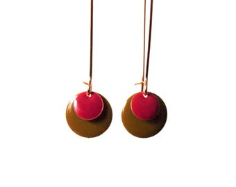 Equals khaki round sequins and red garnet on gold brass setting-long dangle earrings