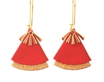 RED leather and gold stellar earrings model