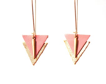 Earrings are made of pink leather Indian and gold graphics, large hooks sleepers style Golden brass and leather