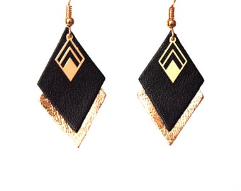 Earrings black and gold leather graphic earrings diamonds - model LYA - Christmas gift for wife for her