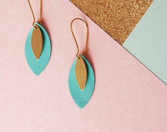 Ava blue leather leaf and gold earrings