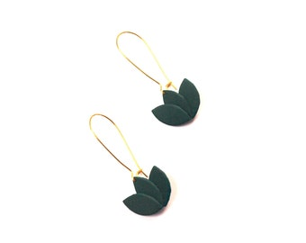 Leather green and gold lotus flower on Golden sleeper mount leather earrings