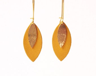 Mustard yellow leather leaf earrings and gold MODEL AVA