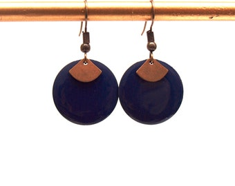 Earrings dark blue, dark blue, Navy and bronze sequin round enamel and fan - Christmas gift for woman