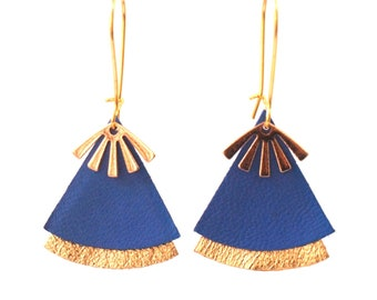 Lavender blue leather earrings and gold stellar model