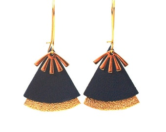 Stellar black leather and gold earrings