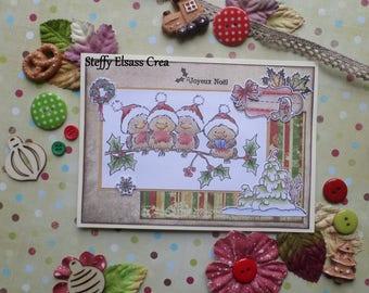 Carte Joyeux Noël Petit Oiseau Rouge Gorge sur Branche