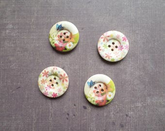 Wholesale 12 buttons wood Nature Flower Butterfly