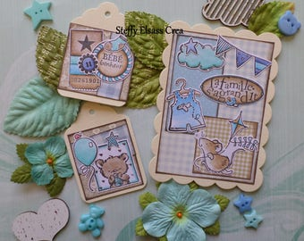 Together card tag baby boy Teddy bear baby mouse Turquoise Blue