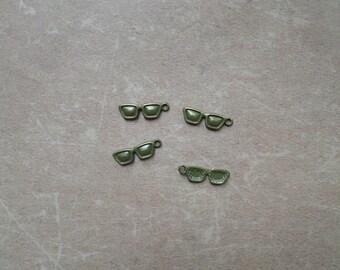 10 Breloques Metal Bronze Mode Accessoire Lunette Plate vue soleil