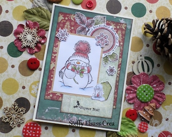 Merry Christmas snowman Hat scarf red green card