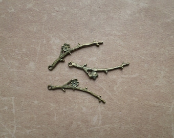 5 Metal Bronze flower Nature branch charms