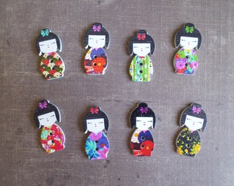 12 boutons bois Forme Fille Chinoise