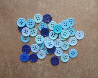 40 buttons round Pop color blue 1,4 cm