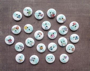 40 wood buttons letter 1.5 cm Blue bubble sea animals