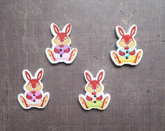 10 wooden buttons shaped Easter Bunny animals