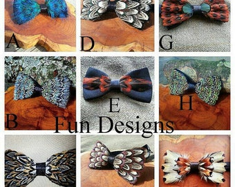 Handmade feather bow ties, huge discount shipping on multiple bowties.
