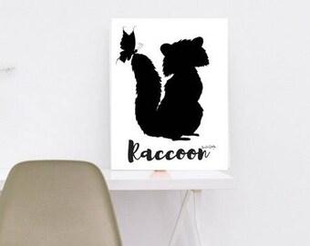 Raccoon print, gender neutral nursery, gender neutral nursery decor, gender neutral baby shower, gender neutral baby gift, neutral baby gift