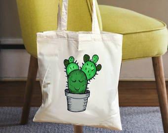 Cotton canvas bag, cactus bag, canvas tote bag, cotton tote bag, tote bag canvas, tote canvas, cactus gift bag, tote bag cotton, cactus gift