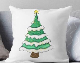 Christmas tree pillow, Christmas pillows, tree pillow, christmas throw pillows, snow tree, Christmas pillow decoration, pillows christmas,