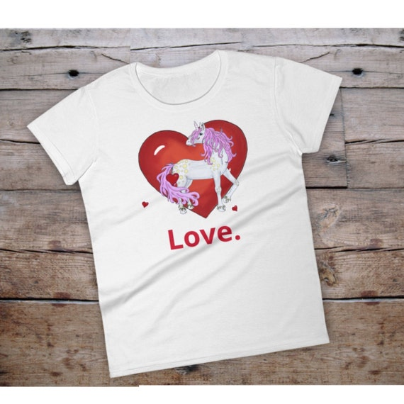 Unicorn T Shirt Valentines Day Shirt Unicorn T Shirt Woman Etsy