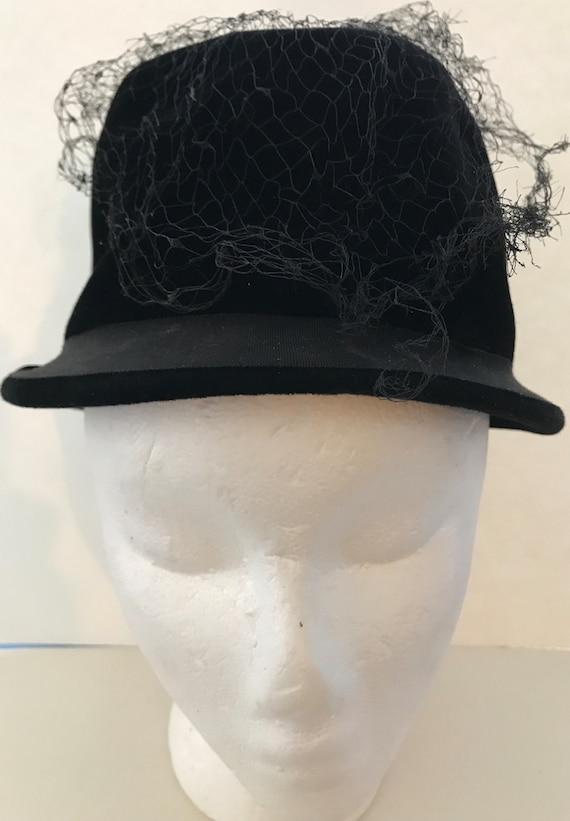 Vintage Velvet Womens Hat 1940's 1950's Adoria Bla