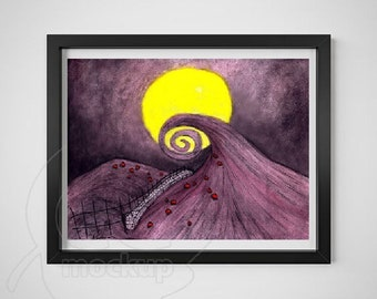 Nightmare Before Christmas, The Moonlit Night, Watercolour Art Print, Fan Art, Tim Burton, Giclee Print, Archival Print, Fine Art Print