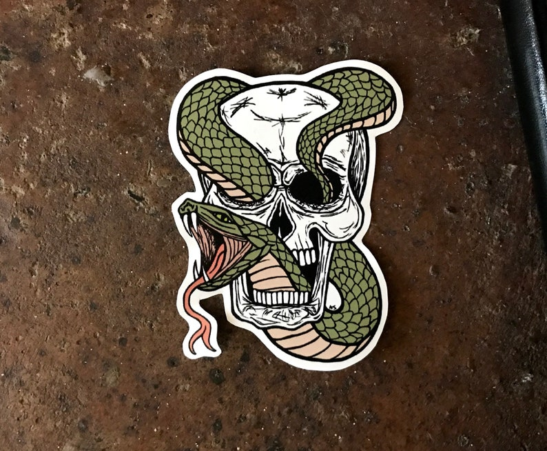 Vinyl Sticker, Snake & Skull Sticker, Skull Sticker, Tattoo Sticker, Laptop  Stickers, Seperpent and Skull, Snake Sticker, Vinyl Decal