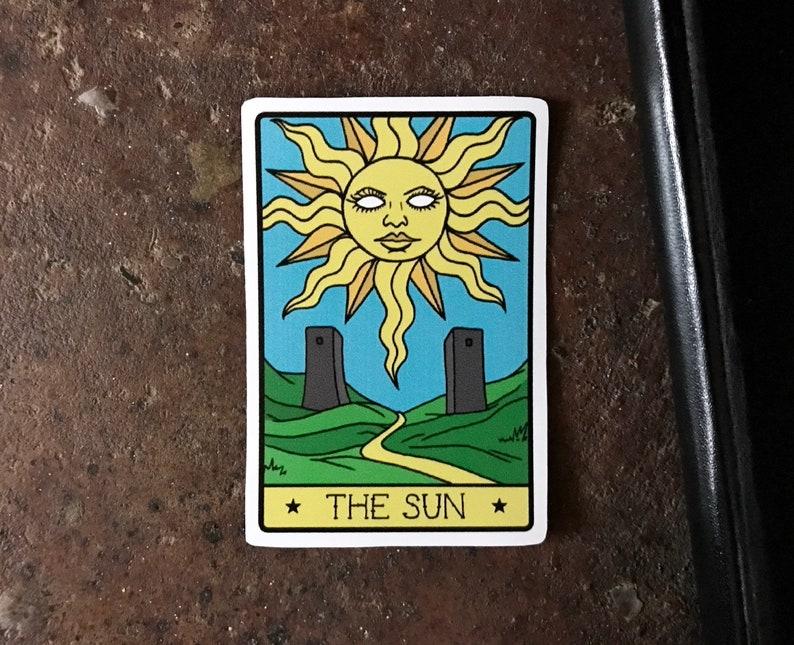 Vinyl Sticker, The Sun Sticker, Sun Tarot Card, Alternative Tarots,  Halloween Sticker, Laptop Sticker, Waterproof Sticker,Tarot Card Sticker