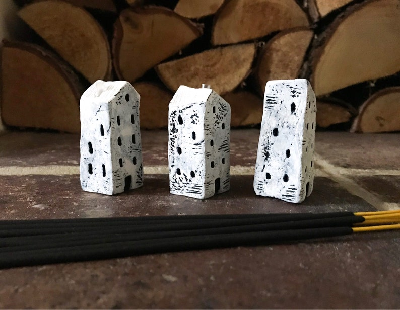 Incense Holder Quirky Incense Stick Holder Black /& White Houses Miniature Clay House Miniature Houses Home Decor Rustic Clay Houses