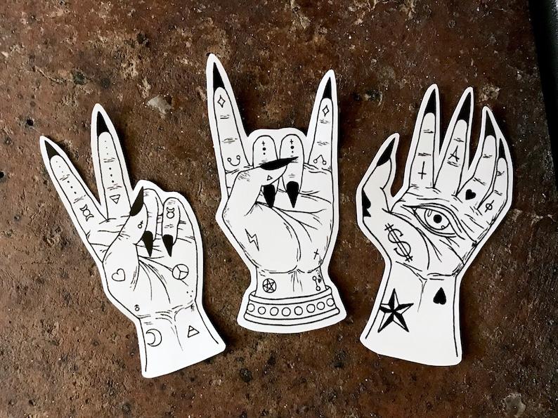 a7d0845db Vinyl Sticker Rock & Roll Hand Rock Sticker Tattooed Hand   Etsy
