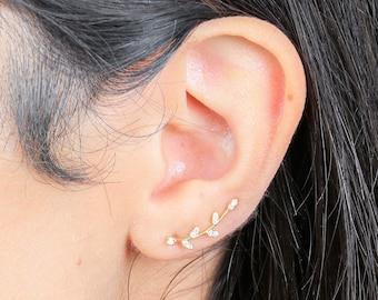 Olive leaf ear climbers | ear crawlers | ear climber earrings | ear crawler earrings | ear pins