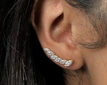 Marquise row ear climbers   ear crawlers earrings   ear climber earrings   ear crawlers   ear pins   ear sweeps