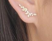 Dainty vine ear climbers ear crawlers earrings ear climber earrings ear crawlers ear pins ear sweeps