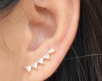 Stacked triangle ear climbers   ear crawlers earrings   ear climber earrings   ear crawlers   ear pins   ear sweeps
