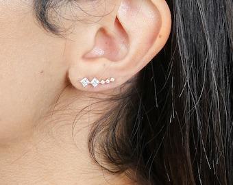 Eleanor ear climbers   ear crawlers   ear climber earrings   ear sweeps   ear pins