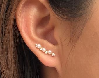 Pearl ear climbers   ear crawlers   ear climbers earrings   ear crawlers   ear pins   ear sweeps   ear crawler earrings   ear jackets