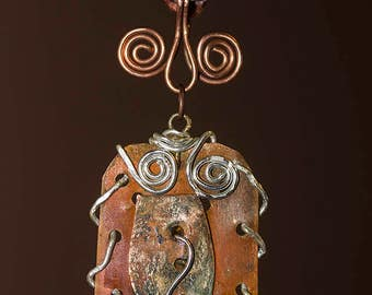 Mixed metal, copper and aluminium tribal necklace