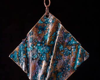 Rustic, fold formed copper pendant with blue patina