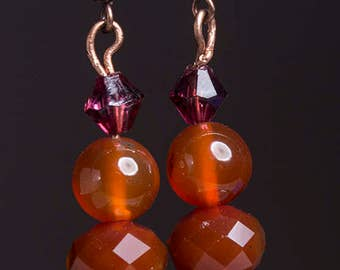 Carnelian and  picture jasper earrings