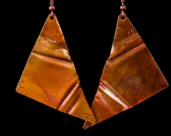 Fold formed copper earrings and necklace set with fire patina