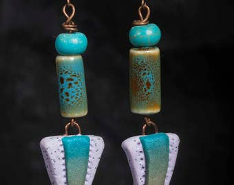 Pink, green and blue, ceramic, clay and copper earrings