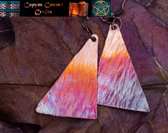 Fire patina textured copper triangle earrings