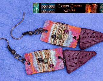 Fire patina, wire wrapped copper earrings in pinks and purples, with handmade polymer clay bead