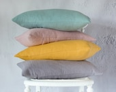 Linen Pillow Cover, Solid Colour Throw Pillow Cover, Modern Cushion Cover Various Sizes, Lumbar Pillow Cover, Pastel Shades