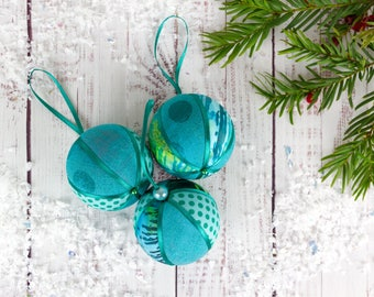 teal christmas baubles set christmas tree balls xmas baubles festive tree decorations tree ornament teal fabric baubles jade decor